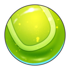 Illustration: Elements Set: Sport Ball: Tennis Ball. Fantastic Realistic Cartoon Life Style