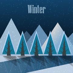 Winter. New Year postcard. Vector Illustration