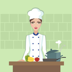 Chef cooking food Flat style illustration