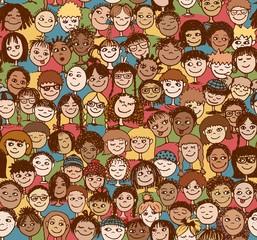 Kinder - Handgezeichnetes Hintergrundmuster mit vielen bunten Kinderköpfen