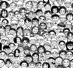 Kinder - Handgezeichnetes Hintergrundmuster mit vielen Kinderköpfen in schwarzweiß