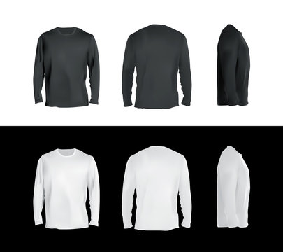 Long sleeved t-shirt templates collection, front, back, side view. Black and white colors blank shirts, vector eps10 realistic illustration.