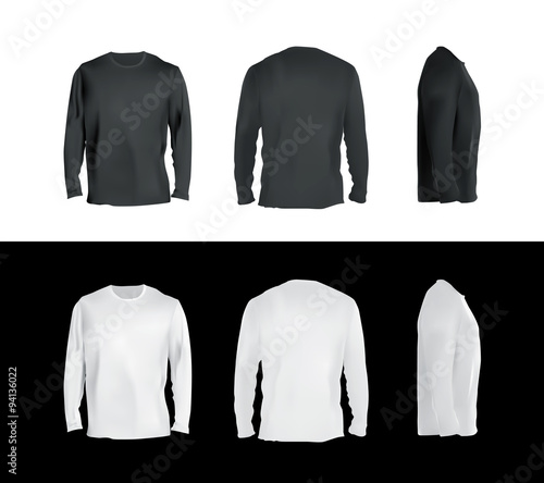 Long sleeved t-shirt templates collection, front, back, side view ...