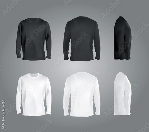 Long Sleeved T Shirt Templates Collection Front Back Side View