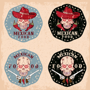 vector grunge skull in a Mexican sombrero with chili peppers,flo