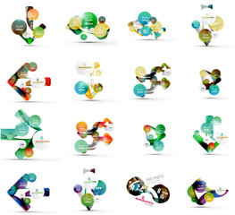 Set of abstract geometric paper infographic banner templates
