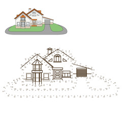 Draw house educational game vector illustration