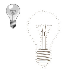 Connect dots to draw lightbulb educational game