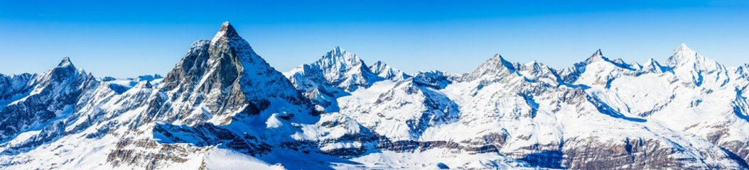 Fotobehang Alpen Swiss Alps - Matterhorn, Switzerland, panorama