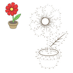 Connect dots to draw flower educational game