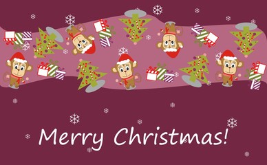 Illustration of a monkey in a Santa hat and Christmas tree - Merry Christmas! - Vector