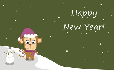 Illustration of a monkey in a hat - Happy New Year! - Vector