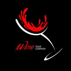 Wine glass logo design
