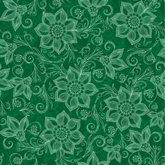 Henna Mehendi Tattoo Doodles Seamless Pattern on  green backgrou