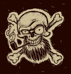 """Vector black pirate skull with a tobacco pipe. Image of a black pirate skull and crossbones as the """"Jolly Roger"""" with a beard and with a tobacco pipe on a black background. Looks like a engraving."""