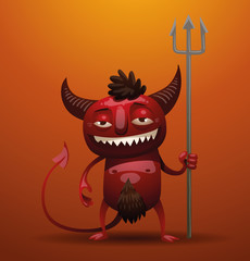 Vector smiling little red devil. Image of a smiling little red devil with horns and a tail, holding a trident in his hand on an orange background.