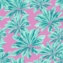 seamless tropical palm leaves pattern fashion design vector illustration