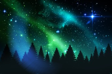 Aurora shimmering over forest at night