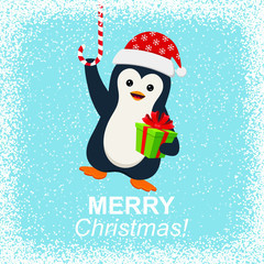Cute penguin with gift box and Merry Christmas