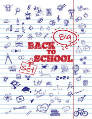 Back To School Typographical Background On Copybook Paper With School Icon Elements