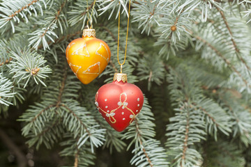 Christmas and New Year`s decorations on the background spruce, close-up
