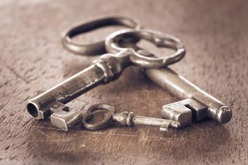 Vintage keys in old retro style