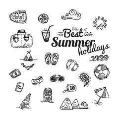 Collection of vector outlined summer icons isolated on white