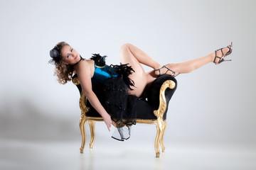 Frau im sexy Burlesque Style