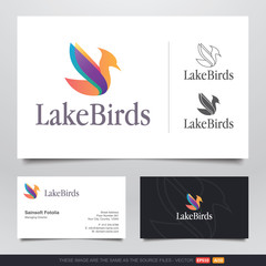 Colorful Swan Bird Logo and Business Card Design