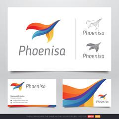 Colorful Phoenix Bird Logo and Business Card Design