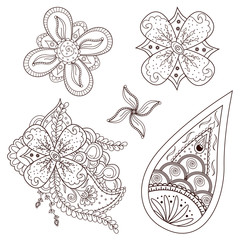 Set of abstract flowers and paisley elements in Indian mehndi style. Hand drawn floral doodles. Orient traditional background design. Ethnic pattern. Template for mehndi ornament. Vector illustration.