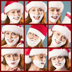 Composite image of festive redhead in foam beard
