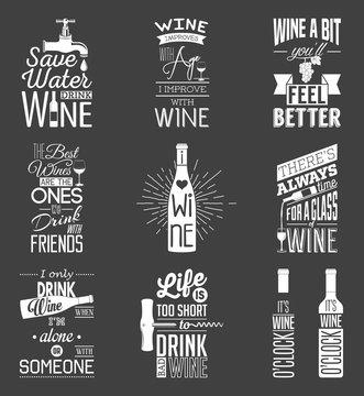 Set of vintage wine typographic quotes