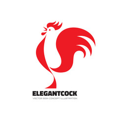 Elegant cock - rooster vector logo concept illustration. Bird cock minimal illustration. Rooster vector logo. Vector logo template. Cock design element.