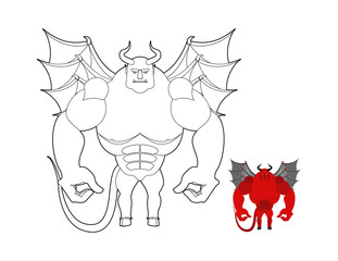 Devil coloring book. Red demon with wings and horns. Helluva ter