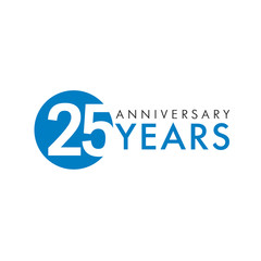25 years logo. Template logo 25th anniversary with a circle and the number 25 in it and labeled the anniversary year
