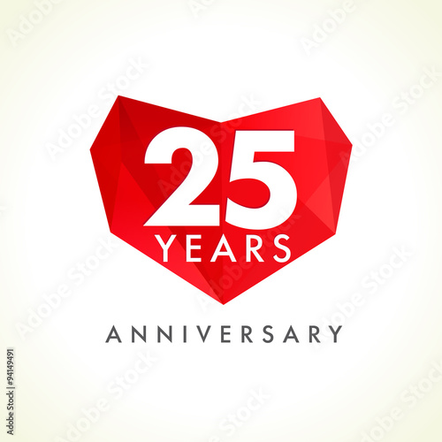 25 anniversary heart logo template logo of 25 jubilee in facet template logo of 25 jubilee in facet heart shape yadclub Image collections