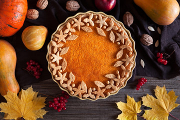 Homemade pumpkin tart pie organic sweet dessert food with