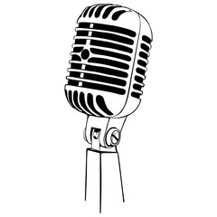 Vector Line Art Variety Microphone