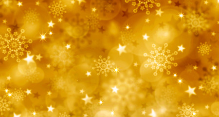 Golden Christmas Background and snowflakes.