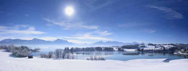 Wall Mural - Panorama Winterlandschaft in Bayern im Allgäu mit Blick auf die Berge der Alpen und dem Forggensee bei Füssen