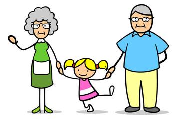 Großeltern mit Enkelkind an der Hand