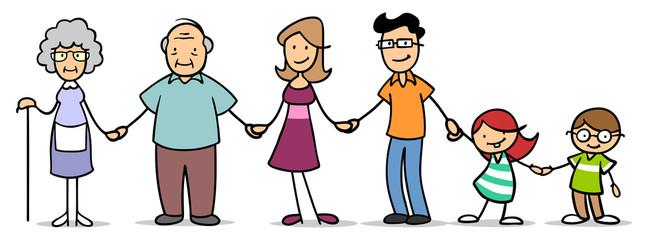 Große Familie mit Großeltern und Kindern