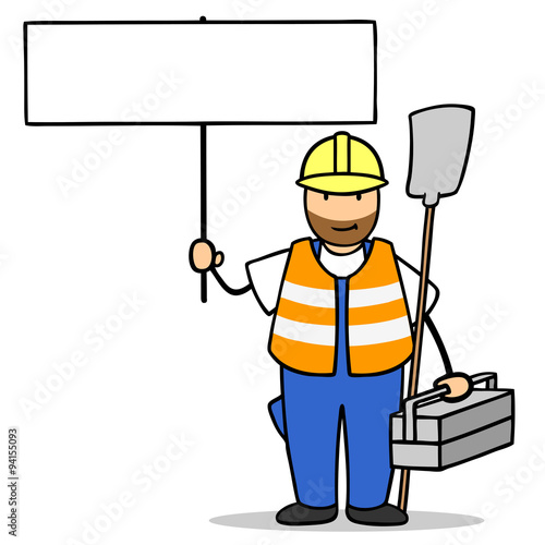 Bauarbeiter zeichnung  Bauarbeiter im Straßenbau hält Schild hoch
