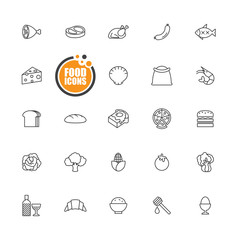 Food icons line set