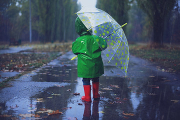 Baby walking in autumn rainy park