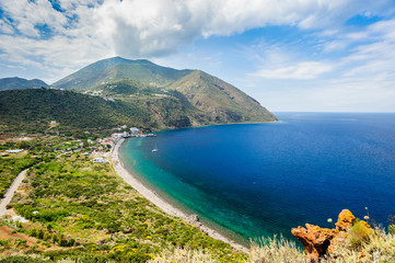 A stunning view over a hilltop on Filicudi island seashore, Sicily, Italy.