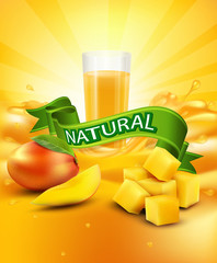 vector background with mango, a glass of juice, slices of mango,