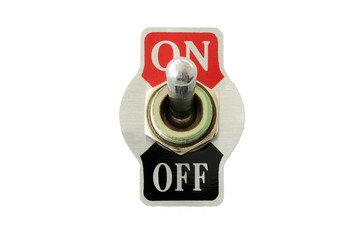 Closeup of toggle switch in front view using for electric circuit on-off, isolated in white background