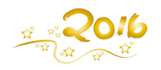 2016 - Jahreszahl in Gold mit Sternen und Girlande - Feierlichkeiten zum Jahreswechsel